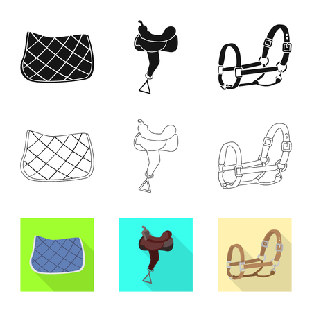 Vector illustration of equipment and riding icon. Collection of equipment and competition stock symbol for web.