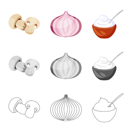 Isolated object of taste and product sign. Set of taste and cooking stock symbol for web.