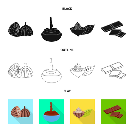 Isolated object of food and yummy icon. Collection of food and brown   vector icon for stock. Illustration