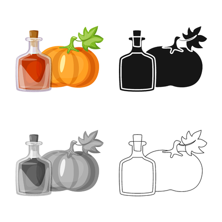 Isolated object of pumpkin  and seed symbol. Set of pumpkin  and diet vector icon for stock.