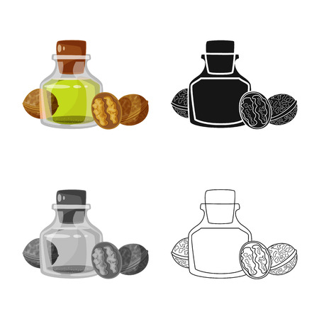 Isolated object of walnut and food  icon. Set of walnut and cold stock vector illustration.