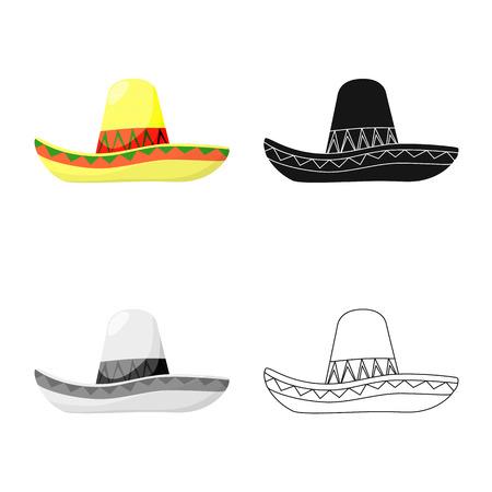 Vector design of sombrero and mexican logo. Set of sombrero and hat vector icon for stock.