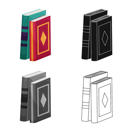 Vector illustration of book and text logo. Collection of book and encyclopedia  vector icon for stock. Stockfoto - 120749087