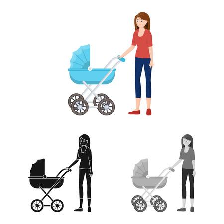 Diseño vectorial de icono de madre y cochecito. Conjunto de ilustración vectorial de stock madre y mamá.