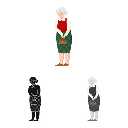 Vector design of grandmother  and senior  sign. Collection of grandmother  and old vector icon for stock.