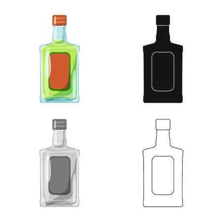 Isolated object of bottle and alcohol symbol. Collection of bottle and vodka  vector icon for stock. Illustration