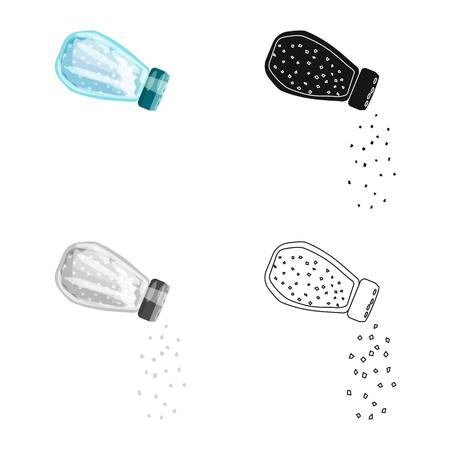 Vector illustration of bottle  and salt sign. Collection of bottle  and pack  vector icon for stock.