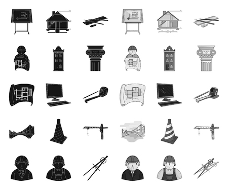 Architecture and construction black.mono icons in set collection for design. Architect and equipment vector symbol stock web illustration.