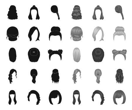 Female hairstyle black.mono icons in set collection for design. Stylish haircut vector symbol stock web illustration.