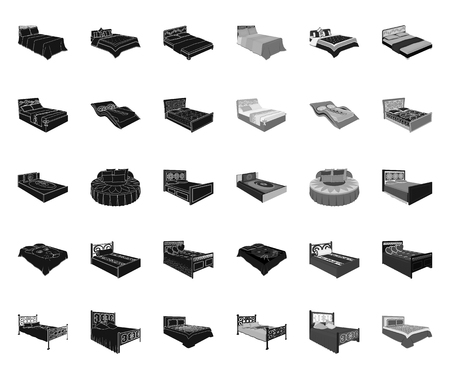 Different beds black.mono icons in set collection for design. Furniture for sleeping vector isometric symbol stock web illustration.