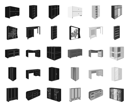 Bedroom furniture black.mono icons in set collection for design. Modern wooden furniture isometric vector symbol stock web illustration.