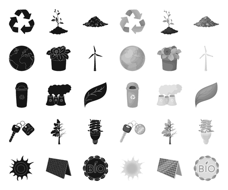 Bio and ecology black.mono icons in set collection for design. An ecologically pure product vector symbol stock web illustration. Stock Illustratie