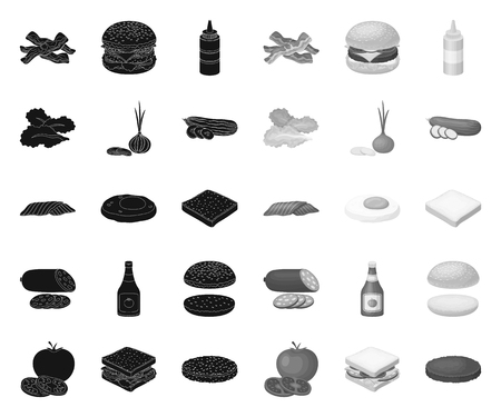 Burger and ingredients black.mono icons in set collection for design. Burger cooking vector symbol stock web illustration.