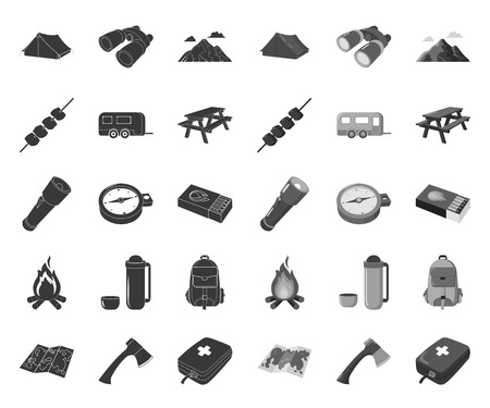 Rest in the camping black.mono icons in set collection for design. Camping and equipment vector symbol stock web illustration.