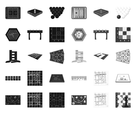 Board game black.mono icons in set collection for design. Game and entertainment vector symbol stock web illustration.