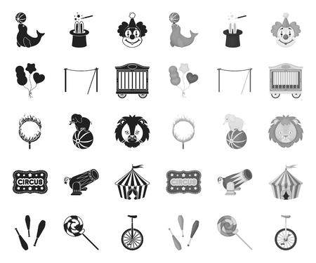 Circus and attributes black.mono icons in set collection for design. Circus Art vector symbol stock web illustration.