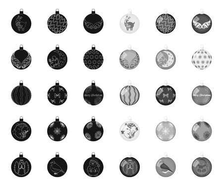 Christmas toys black.mono icons in set collection for design.New Year balls vector symbol stock illustration.