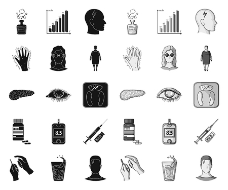 Diabetes black.mono icons in set collection for design. Treatment of diabetes vector symbol stock web illustration.