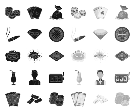 Casino and gambling black.mono icons in set collection for design. Casino and equipment vector symbol stock web illustration. Vektoros illusztráció