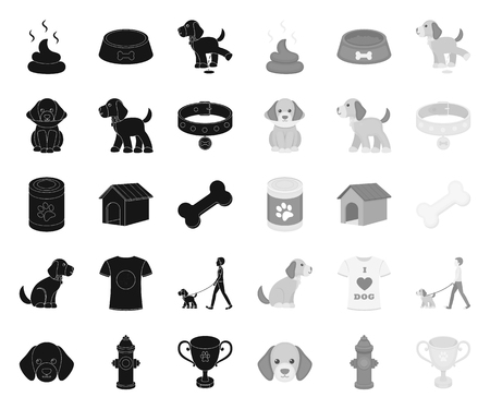 Pet dog black.mono icons in set collection for design. Caring for the puppy vector symbol stock web illustration.