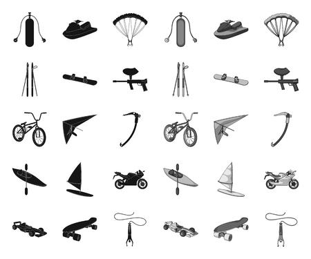 Extreme Sport black.mono Icons in Set Collection für Design Verschiedene Arten von Sportvektorsymbolvorrat-Netzillustration. Vektorgrafik