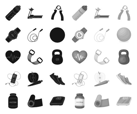 Gym and training black.mono icons in set collection for design. Gym and equipment vector symbol stock web illustration. Ilustração