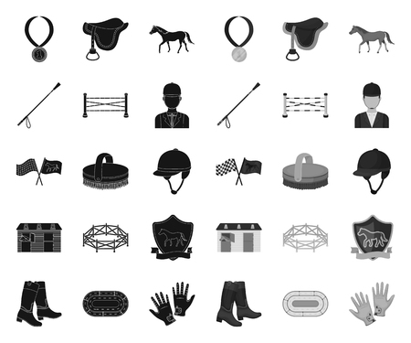 Hippodrome and horse black.mono icons in set collection for design. Horse Racing and Equipment vector symbol stock web illustration. Ilustrace