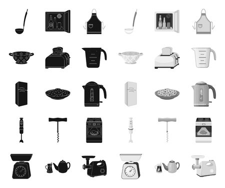 Kitchen equipment black.mono icons in set collection for design. Kitchen and accessories vector symbol stock web illustration.