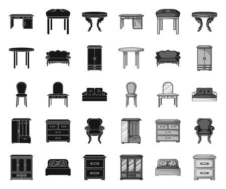 Furniture and interior black.mono icons in set collection for design.Home furniture vector symbol stock web illustration.