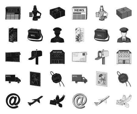 Mail and postman black.mono icons in set collection for design. Mail and equipment vector symbol stock web illustration. Vettoriali