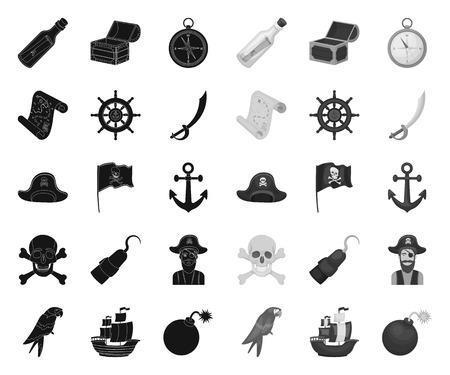 Pirate, sea robber black.mono icons in set collection for design. Treasures, attributes vector symbol stock web illustration.