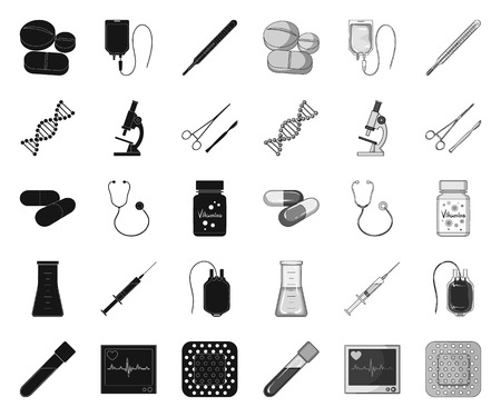 Medicine and treatment black.mono icons in set collection for design. Medicine and equipment vector symbol stock web illustration.