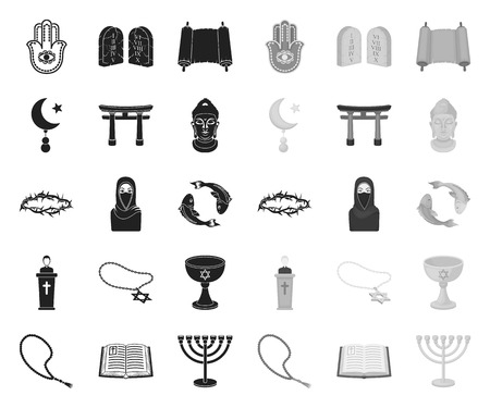 Religion and belief black.mono icons in set collection for design. Accessories, prayer vector symbol stock web illustration.