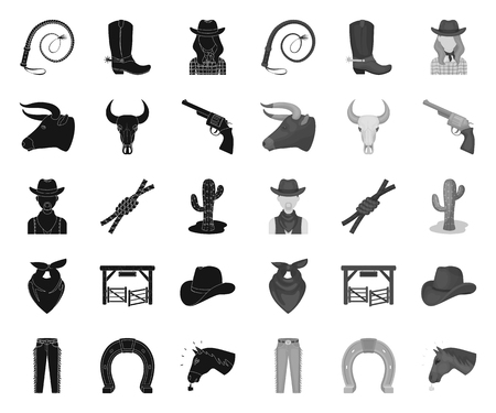 Rodeo, competition black.mono icons in set collection for design. Cowboy and equipment vector symbol stock web illustration.