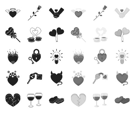 Romantic relationship black.mono icons in set collection for design. Love and friendship vector symbol stock web illustration.