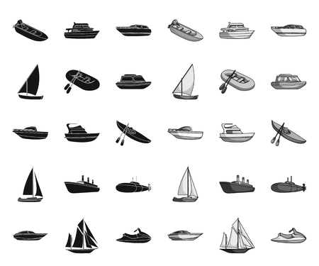 Water and sea transport black.mono icons in set collection for design. A variety of boats and ships vector symbol stock web illustration.