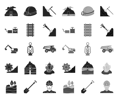 Mining industry black.mono icons in set collection for design. Equipment and tools vector symbol stock web illustration.