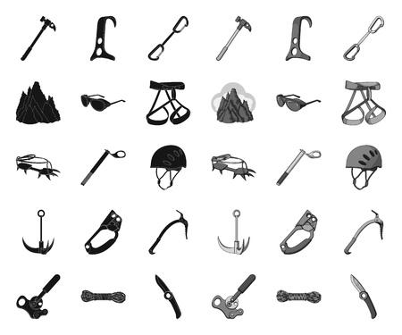 Mountaineering and climbing black.mono icons in set collection for design. Equipment and accessories vector symbol stock web illustration. Ilustrace