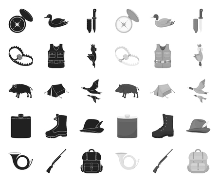 Hunting and trophy black.mono icons in set collection for design. Hunting and equipment vector symbol stock web illustration.