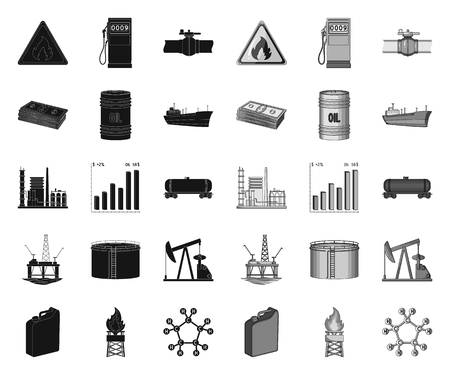 Oil industry black.mono icons in set collection for design. Equipment and oil production vector symbol stock web illustration. Иллюстрация