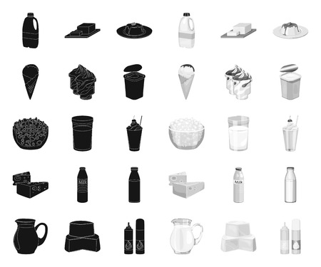 Productos lácteos black.mono iconos de colección set de diseño. Ilustración de stock de símbolo de vector de leche y alimentos.
