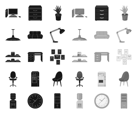 Interior of the workplace black.mono icons in set collection for design. Office furniture vector symbol stock web illustration. Illustration