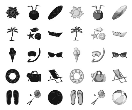 Summer rest black.mono icons in set collection for design. Beach accessory vector symbol stock web illustration.