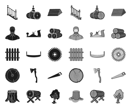 Sawmill and Timber black.mono icons in set collection for design. Hardware and Tools vector symbol stock web illustration.