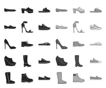 A variety of shoes black.mono icons in set collection for design. Boot, sneakers vector symbol stock web illustration.
