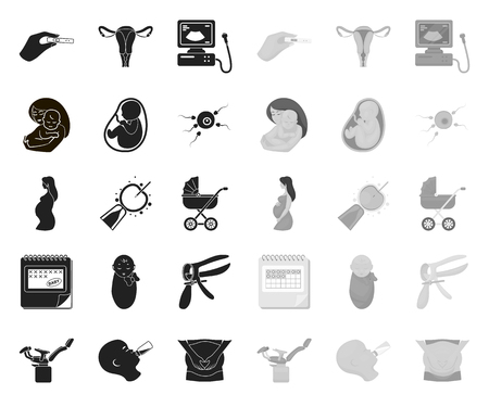 Woman and pregnancy black.mono icons in set collection for design. Gynecology and equipment vector symbol stock web illustration.