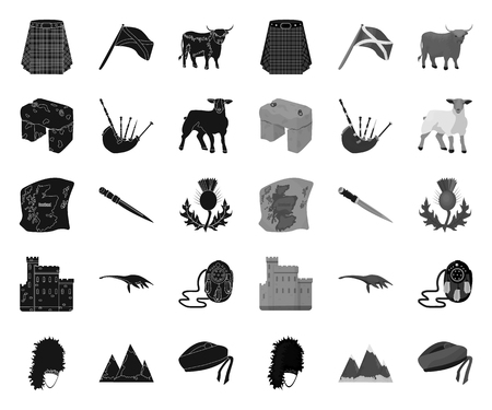Country Scotland black.mono icons in set collection for design. Sightseeing, culture and tradition vector symbol stock web illustration.