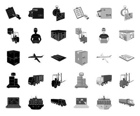 Logistics and delivery black.mono icons in set collection for design. Transport and equipment isometric vector symbol stock web illustration. Illustration