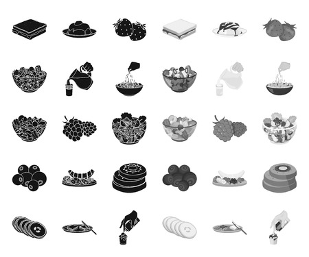 Dessert fragrant black.mono icons in set collection for design. Food and sweetness vector symbol stock web illustration.