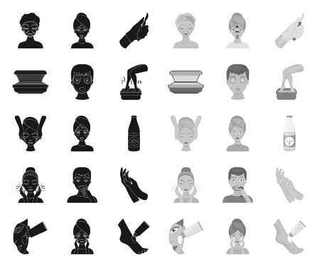 Skin care black.mono icons in set collection for design. Face and body vector symbol stock web illustration.